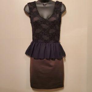 Olive Green and Black Lace Sleeveless Peplum Dress